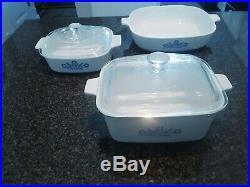 1960s Porcelain Original CorningWare Blue Cornflower Set Glass Top Rare Vintage