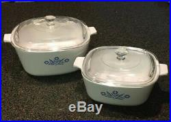 2 1970s Vintage Corning Ware Blue Cornflower Casserole Dish With Original Lids