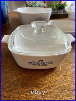 6 pc Set Vintage Corning Ware Blue Cornflower Casserole Baking Dishes w 2 lids
