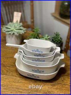6pc Set Vintage Corning Ware Blue Cornflower Casserole Baking Dishes w 1 lid