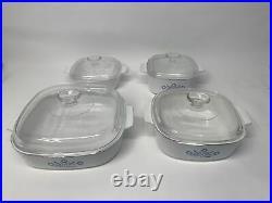 8 pc Set Vintage Corning Ware Blue Cornflower Casserole Baking Dishes with lids