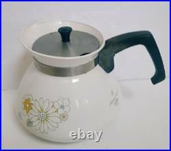 8 pc Set Vintage Corning Ware Floral Bouquet Casserole Dishes Teapot Pyrex Lids