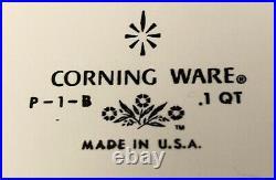 BLUE CORN FLOWER CORNING WARE P-1-B. 1 Qt Made in USA