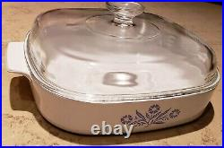 Corning Ware 1970's VINTAGE BLUE 10 in. A-10-B CORNFLOWER BAKE DISH withLID USA