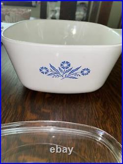 Corning Ware Blue Cornflower Casserole Dish + Lid 1 3/4 Quart Vintage P-1-3/4-B