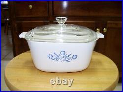 Corning Ware Blue Cornflower Dish + Lid 1 3/4 Quart P-1-3/4-B Vintage 1961-66