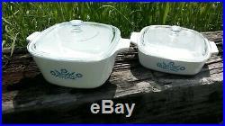Corning Ware Blue Cornflower Vintage Casserole Dishes 1 3/4 QT & 1 QT