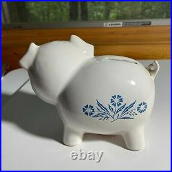 Corning Ware Blue Cornflower Vintage Pig Piggy Bank with Red Stopper
