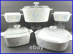 Corning Ware Pastel Bouquet Casserole Dishes Pyrex Lids Set Vintage Baking Glass