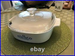 Corning Ware VINTAGE Blue Cornflower 2L (2Qt.) A-2-B Casserole Dish with Pyrex Lid