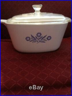 CorningWare Blue Cornflower Casserole Dish + Lid 1 3/4 Quart Vintage P-1-3/4-B
