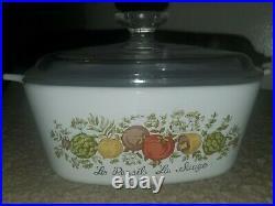 CorningWare Vintage Rare Spice of Life La Marjolaine1.5 Qt Casserole Circa 70s