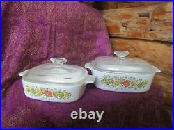 Corningware Spice of Life Vintage' Dish Set of 2 with Lids Excellent A-2-B, A-1-B
