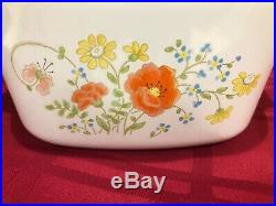 Extremely Rare Pristine Wildflower Pattern Vintage Corning Ware 1970s