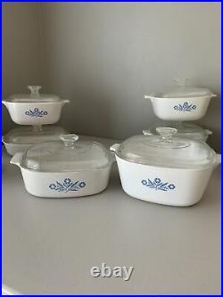 Lot Of 22 Piece Vintage Corning Ware Blue Cornflower Cookware Classic American