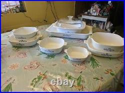 Lot Vintage Corning Ware Home Set Pyrex 1950 Set of 10 Blue Corn Flower