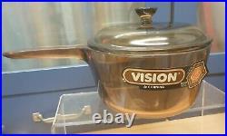 New Set 3 Vintage Retro Vision Pans Corning Amber Glass Saucepans French