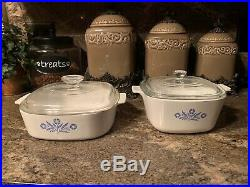 Original Vintage 1970s Corning Ware. 2-piece set with lids Blue Cornflower Design