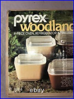 PYREX 4 pc. WOODLAND BROWN Oven Refrigerator Freezer Set Sealed Box Vintage