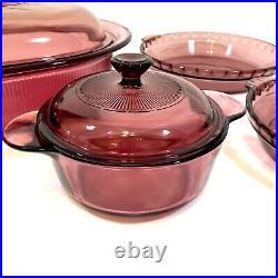 Pyrex Visions Corning Ware 6 pc Cookware Roaster Pot Pie Plates Cranberry Vtg