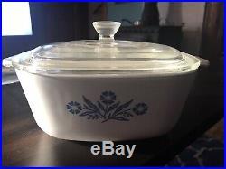 RARE 1960s Vintage Corning Ware Blue Corn Flower 1 1/2 Quart