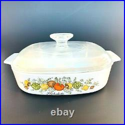 RARE STAMP Vintage Corning Ware Spice Of Life L'Echalote A 8 B Casserole with Lid