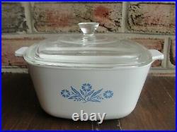 RARE Vintage Corning Ware BLUE CORNFLOWER Oven Covered Casserole P-1 3/4-B 1958
