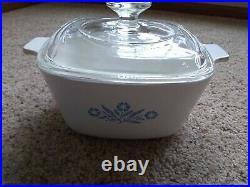 RARE Vintage Corning Ware BLUE CORNFLOWER oven Covered Casserole P-1 3/4-B