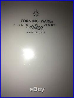 RARE Vintage Corning Ware Blue Cornflower 2 1/2 qt Casserole P 2 1/2 B With Lid