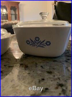RARE Vintage Corning Ware Blue Cornflower Casserole Dish Set of 3 WithLids