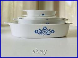 RARE Vintage Corning Ware Blue Cornflower Set