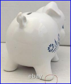RARE Vintage Corning Ware Piggy Bank Blue Cornflower England Pig Piggie Nice