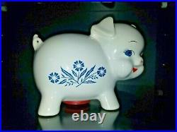 RARE Vintage Corning Ware Piggy Bank Blue Cornflower Made In England Pig