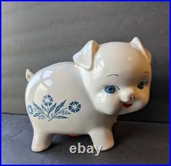 RARE Vintage Corning Ware Piggy Bank Blue Cornflower Made In England Pig Piggie