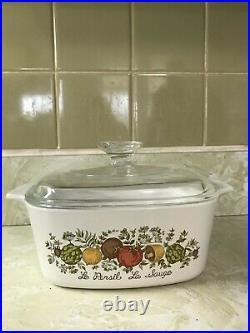 RARE Vintage Corning Ware Spice of Life Le Persil La Sauge 1.5 Casserole Dish