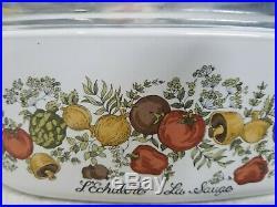 RARE Vintage Corningware Spice of Life L'Echalote La Sauge 4qt with Pyrex Lid