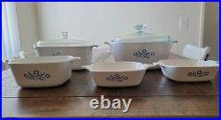 RARE! Vintage corning ware blue cornflower 1960 casserole set of 5. 1960