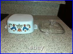 RARE Vintage corning ware with lid 1.5 Qt (1975) 2 Birds $CUT