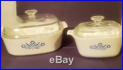 Rare Corning Ware Cornflower casserole Dishes 4qt & 1 3/4qt Vintage SEE STAMP