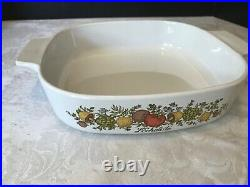 Rare SEE STAMP Vintage Corning Ware L'Echalote A 8 B Spice Of Life 8x8
