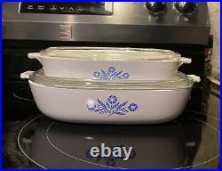 Rare Vintage 1960-1980s Corning Blue Cornflower P-10-B & P-9-B, Both With Lids