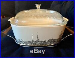 Rare Vintage 1970 Corning Ware Renaissance 4 Qt. Dish, Lid & Holder P-84-B