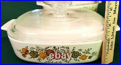 Rare Vintage CORNING WARE L' Echalote Spice of Life 1 QT Dish with Glass Lid