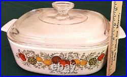 Rare Vintage CORNING WARE La Marjolaine Spice of Life 2 QT Dish with Glass Lid
