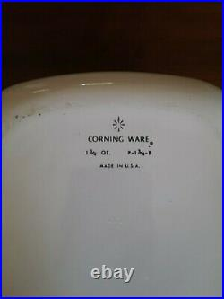 Rare Vintage Corning Ware Blue Cornflower Casserole P-1 3/4-B with 2 Lids