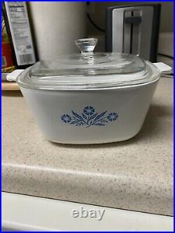 Rare Vintage Corning Ware Blue Cornflower Casserole P-1 3/4-B with Lid