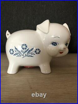 Rare Vintage Corning Ware Blue Cornflower Piggy Bank with Original Stopper