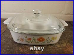 Rare Vintage Corning Ware Wildflower Casserole Dish withLid 1 Qt A1B EUC
