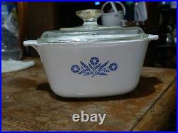 Rare Vintage corning ware blue cornflower with lid