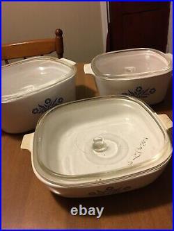 Set of 7 Vintage Corning Ware Baking Dishes Blue Cornflower Pattern